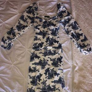 NWT- Boohoo Blue & White Puff Sleeve Midi Dress(6)